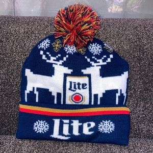 Miller Lite Christmas UGLY Sweater Beanie.